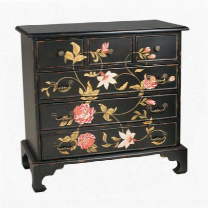 "In Bloom Collection 52-1687 40"" Chest With 6 Drawers Hand-painted Flowerse Metal Hardware Wood  And Composite Materials In Black"
