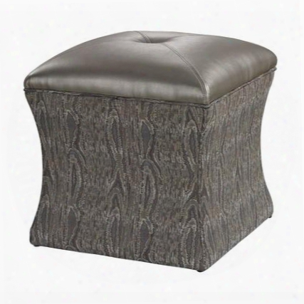 "Luxe Collection 139-010 18"" Ottoman With Plantation Grown Hardwood Materials Square Shape And Faux Leather Upholstery In Metallic Grey"