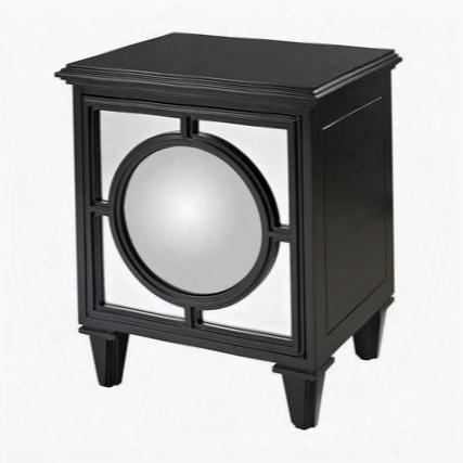 "Mirage Collection 136-005 22"" Cabinet With 1 Door 1 Shelf Convex Mirror And Plantation Grown Hardwood Materials In Matt Black"
