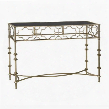 "Moorish Collection 138-171 47"" Console Table With Black Glass Top And Metal Construction In Plastic Gold"