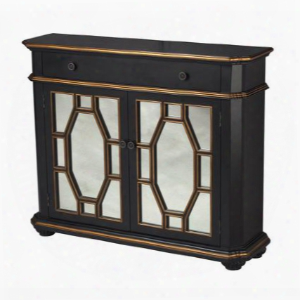 """Presidio Collection 88-1211 48"""" Cabinet With 2 Doors 1 Drawer Clear Mirrored Panels Gold Trim Bun Feet Metal Hardware And Wood Construction In Black"""
