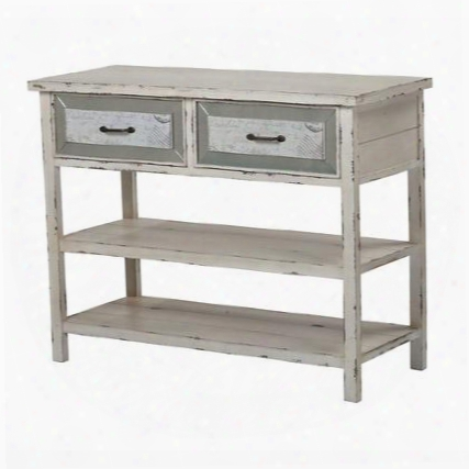 """Sandall Collection 137-012 43"""" Side Board With 2 Drawers 2 Shelves Distressed Look Metal Hardware And Medium-density Fiberboard (mdf) In Antique Cream"""
