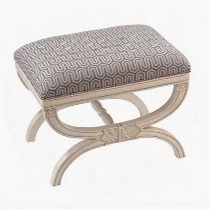 "Stage Collection 139-009 20"" Bench With Plantation Grown Hardwoods Chevron Pattern And Fabric Upholstery In Grey And White"