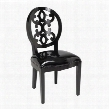 "Baroque Collection 150-012 37"" Accent Side Chair with Scroll Back Detail Tapered Legs Mango Veneer Materials and Patent Fabric Upholstery in Gloss Black"