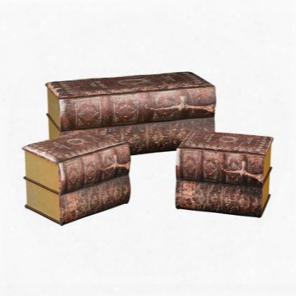 Trunk Collection 170-001/s3 Set Of 3 Trunks With Antique Book Design Faux Leather Upholstery And Sturdy Wood Construction In Burgundy And Gold