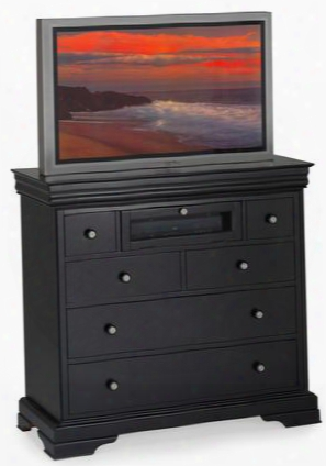 "00-013-078 Belle Rose 44"" Six Drawer Media Chest With Decorative Hardware Easy Pull Drawers Wooden Frame And Detailed Mlding In Dark"