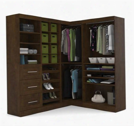 "26854-69 Pur 82"" Corner Kit Including Three Drawers With Simple Pulls And Molding Detail In"