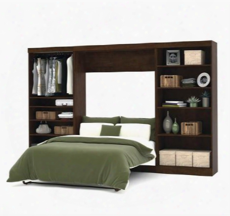 """26895-69 Pur 131"""" Full Wall Bed Kit With 2 Fixed And 3 Adjustable Shelves Simple Pulls And Molding Detail In"""