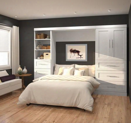 "26899-17 Pur 120"" Full Wall Bed Kit Including Six Drawers With Simple Pulls And Molding Detail In"