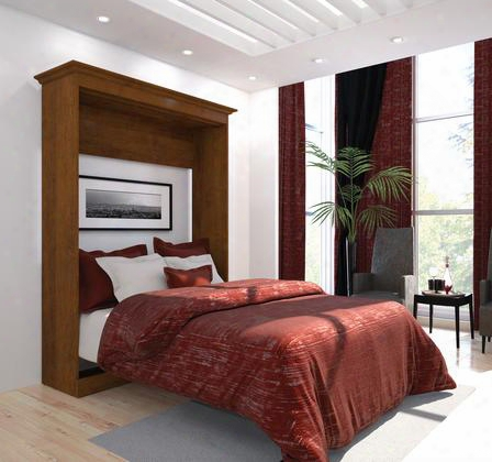 """40183-63 Versatile 85"""" Tall Full Wall Bed With Simple Pulls And Molding Detail In Tuscany"""