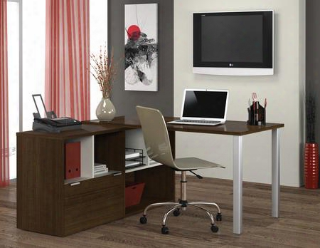 50852-78 Contempo L-shaped Desk With Block Feet And Simple Pulls In