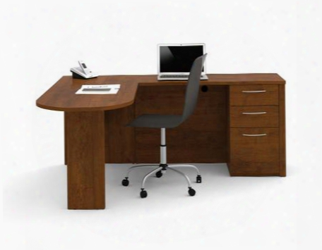 60880-63 Embassy L-shaped Workstation Kit With Scratch And Stain Resistant Surface And Simple Pulls In Tuscany