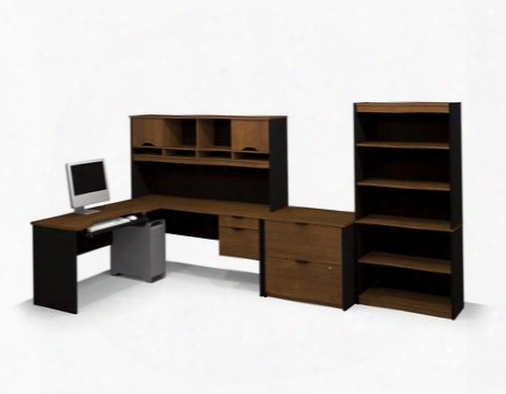 92852-63 Innova L-shaped Workstation Kit With Accessories And Scratches Stains And Wear Resistant Surface In Tuscany Brown &