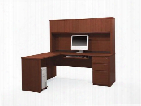 99881-76 Prestige + L-shaped Workstation Kit Including Assembled Pedestal With Scratch And Stain Resistant Surface In Cognac