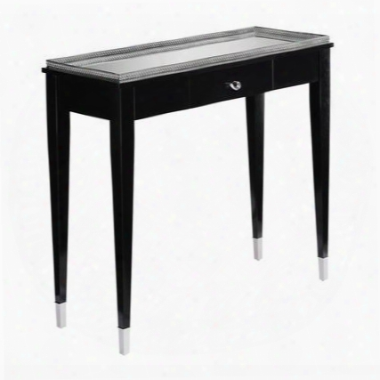 "Black Tie Collection 6043283 33"" Console With 1 Drawer Mirrored Top Hardwood Materials Metal Railing And Metal Foot Caps In Black And Chrome"