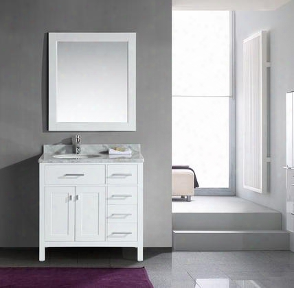 "Dec076d-w = Dec076d-w-r London 36"" Single Sink Vanity Set In White Finish With Drawers On The"