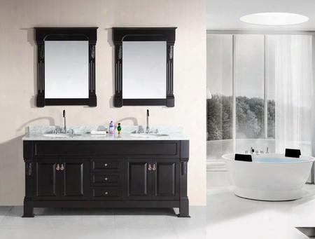 "Dec081-wtp Marcos 72"" Double Sink Vanity Set With Carrara White Marble Countertop In"