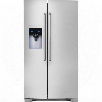 "Ew23cs75qs 36"" 22.16 Cu. Ft. Side-by-side Refrigerator With Wave-touch Controls Humidity-controlled Crispers Chill Zone Drawer 9"" Tall Water/ice Dispenser"