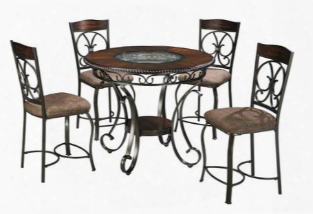 Glambrey D329t4c 5-piece Dining Room Set With Round Counter Height Table And 4 Barstools In Bronze