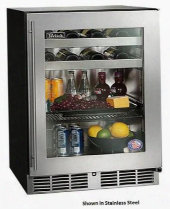 """Ha24bb-3-4r 24"""" Ada Compliant Series Beverage Center With 4.8 Cu. Ft. Capacity Stainless Steel Interior And 3 Pull Out Shelves: Integrated Wood Overlay Glass"""
