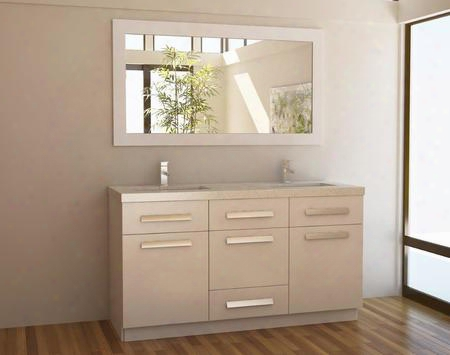"J60-ds-w Moscony 60"" Double Sink Vanity Set In"
