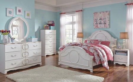 Korabella Full Bedroom Set With Panel Bed Dresser Mirror Two Night Stands And Chest In White