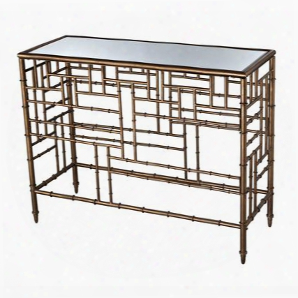 "Laos Collection 6043722 42"" Console With Mirrored Top British Colonial Flavor Rectangulars Hape Bamboo Design And Metal Construction In Antique Gold"