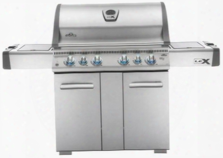 "Lex605rsbinss 76"" Lex 605 Series Freestanding Natural Gas Grill With 3 Stainless Steel Bottom Burners 1 Ceramic Infrared Bottom Burner 1 Infrared Side Burner"