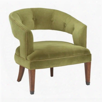 "New Gregory Collection 6071082 28"" Accent Chair With Brown Tapered Legs Button Tufted Back And Velvet Upholstery In Moss Green"