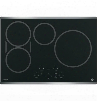 "Php9030sjss 30"" Built-in Induction Cooktop With 4 Elements Digital Touch Controls Melt Setting And Kitchen Timer In Black With Stainless Steel"