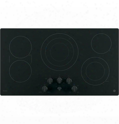 """Pp7036djbb 36"""" Electric Cooktop With 5 Ribbon Burners Front Center Control Knobs Hot Surface Indicator Keep-warm Setting And Melt"""