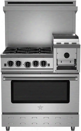 "Rnb364ghcv2 36"" Heritage Classic Series Freestanding Gas Range With 4 Cast Iron Open Burners Convection Oven Raised 12"" Griddle Simmer Burner Full Motion"
