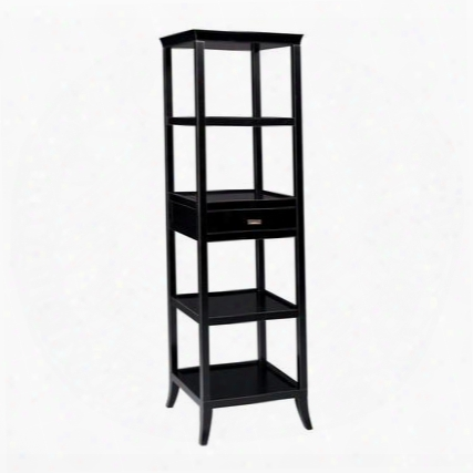 "Tamara Collectiob 6040995 20"" Tower With 4 Shelves 1 Drawer Removable Serving Tray Medium-density Fiberboard (mdf) And Asian Hardwood Materials In Ebony"