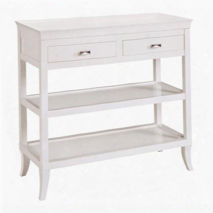"Tamara Collection 6042716 36"" Hall Console With 2 Drawers 2 Shelves Removable Serving Tray And Hardwood Materials In White"