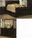 00013WSBDMN Belle Rose 4 Piece Bed Room Set with Western King Sleigh Bed Dresser Mirror and Nightstand in Black