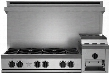 "RGTNB486GHCV2 48"" Heritage Classic Gas Rangetop with 6 Cast Iron Open Burners Raised 12"" Griddle Simmer Burner Full Motion Grates Automatic Electronic"