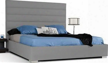 Vgjy4015ck Modrest Kasia Platform California King Size Bed With Tall Headboard Corner Stainless Steel Legs And Leatherette Upholstery In