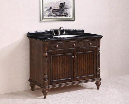 Wh2747-walnut 47 Solid Wood Sink Vanity With Granite Top-no Faucet In