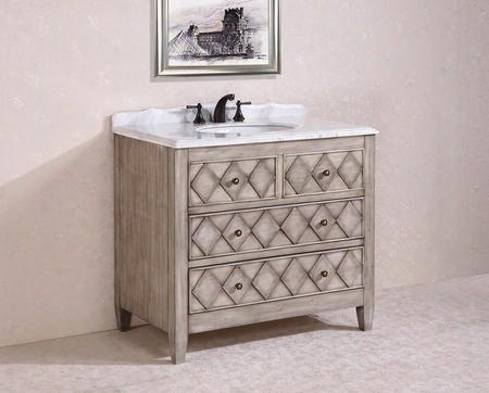 Wh3940 40 Solid Wood Sink Vanity With Marble Top-no Faucet And Backsplash In Antique Light