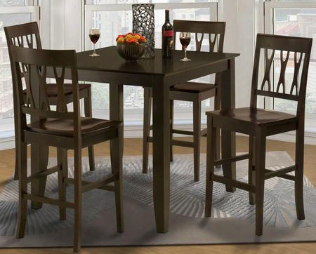 041905012acc Style 19 Five Piece Counter Height Dining Room Set With Table And Four Abbie Chairs In