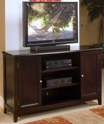 "10-700-10 Ventura 60"" Entertainment Console With Two Shelves Two Doors Decorative Hardware And Detaild Molding In Black"