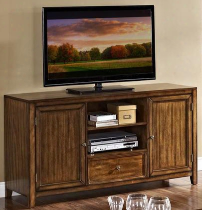 "10-711-10 60"" Contempo Entertainment Console With Two Shelves One Drawer Two Doors Knobs And Tapered Legs In Burnished"