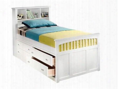 "1415-tcb Bayfront 46"" Twin Captain's Bed With Headboard Cubbies Four Drawers Easy Pull Hardware Footboard And Simple Design In"