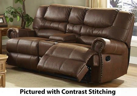 "20-395-25-mocm Laredo 79.5"" Dual Recliner Loveseat With Match Stitchiing Console Storage Cupholders 100% Polyester Fabric Nailhead Trim And Sinuous Spring"