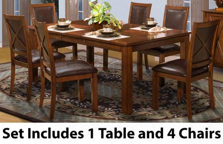 4011610cc Aspen Standard 5 Piece Dining Room Set With Rectangle Dining Table And Four Chairs In Burnished