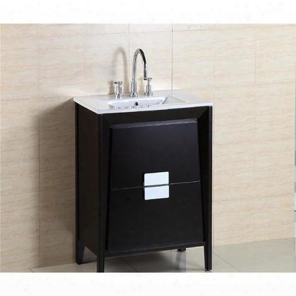 "500410-es-wh-24 24"" Single Sink Vanity In Dark Espresso Finish With Marble"