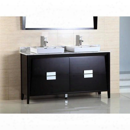 "500410-es-wh-60d 60"" Double Sink Vanity In Dark Espresso Finish With Marble"
