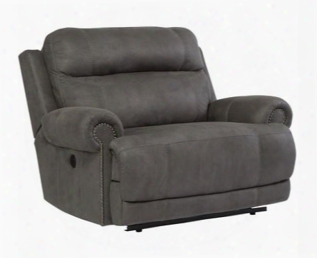 "Austere 3840182 55"" Zero Wall Power Recliner With Plush Rolled Arms Thick Divided Back Cushion And Nail-head Accents In"