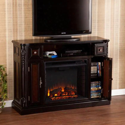 Fe9375 Marianna Media Fireplace - Ebony W/ Reversible Dark