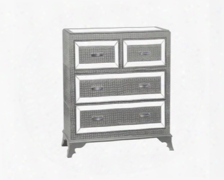 "Glamour Collection 14a2019cos 42"" Chest With Four Drawers Glossy Crocodile Print And Mirrored Inset Top In"
